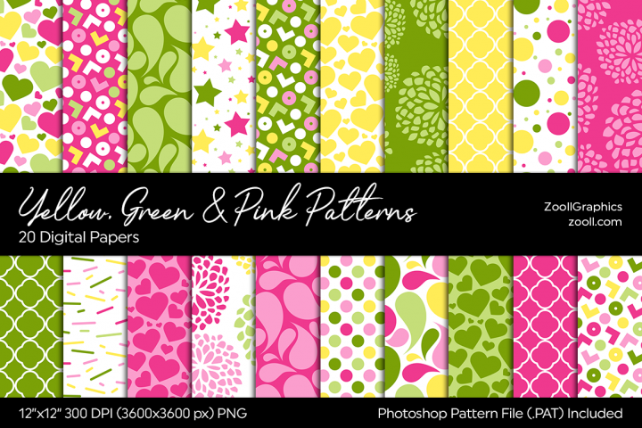 Yellow, Green And Pink Digital Papers