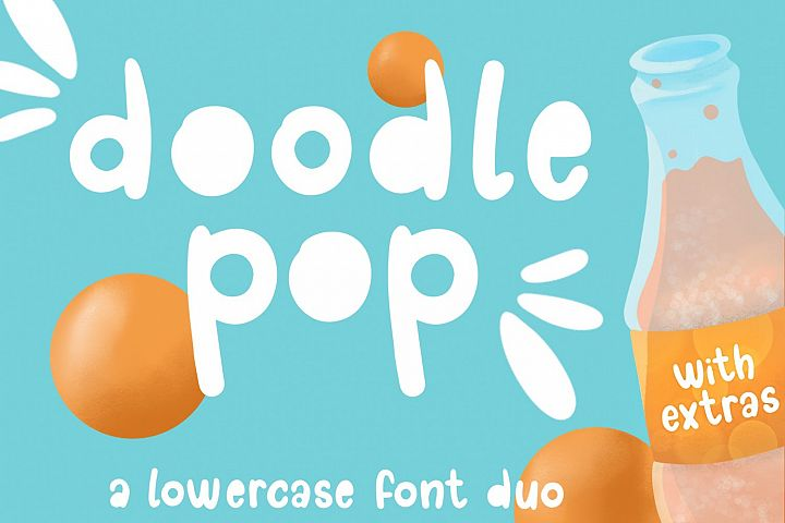 Doodle pop - a cute interchangeable lowercase font duo