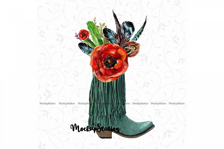 Sublimation Boots PNG Design, Boho Texas Western Clip Art