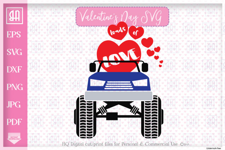 Valentines truck svg - Valentines day MonsterTruck svg