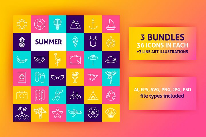 Summer Travel Line Icons