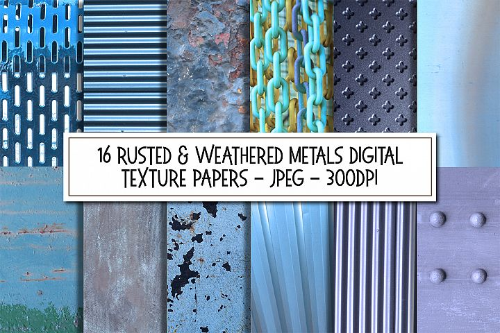 Blue Rusted and Weathered Metal Texture Digital Papers