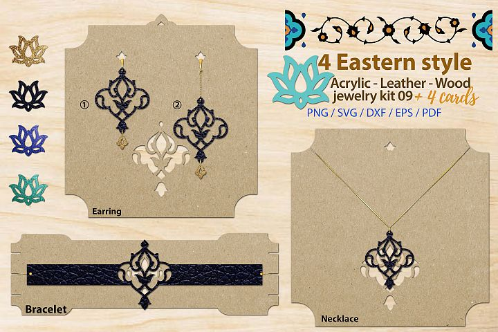 Eastern style acrylic leather wood jewelry kit 09