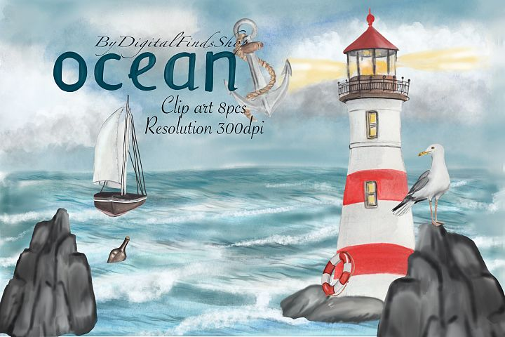 Lighthouse clipart, nautical clipart, anchor clipart PNG PDF