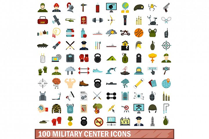 100 military center icons set, flat style