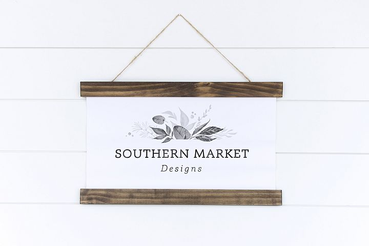 Canvas Banner Hanging Sign Mock Up Styled Stock Photo