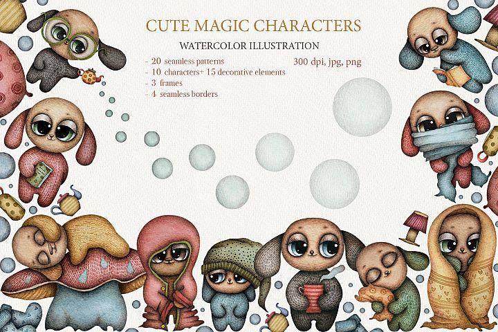 Cute magic characters watercolor set