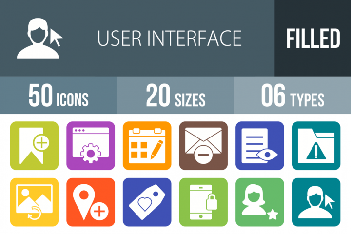 50 User Interface Filled Round Corner Icons