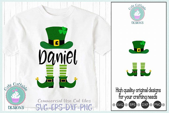 Leprechaun Hat Legs svg, Monogam Saint Patricks Day Cut file
