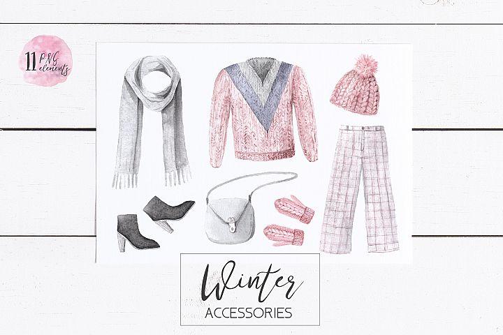 Watercolor Winter Clothes Set