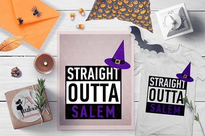 Halloween Straight Outta Salem Witch Hat SVG Cut File