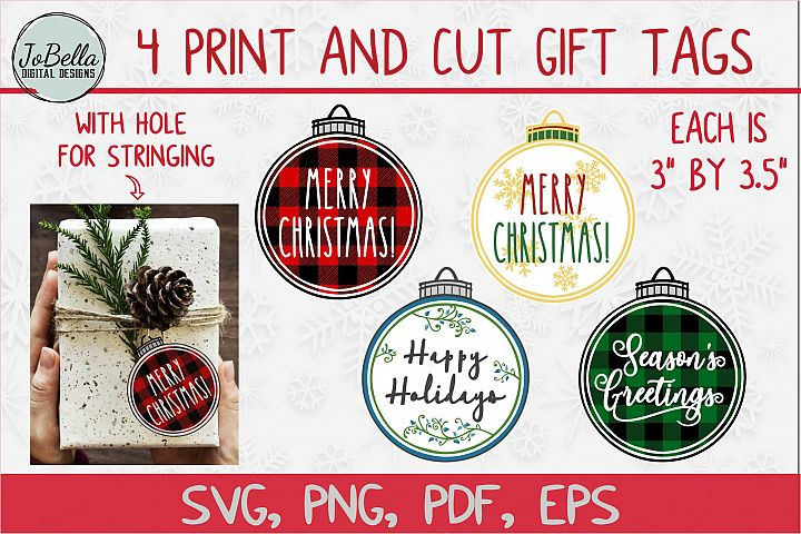Print and Cut Christmas Gift Tag Bundle of 4