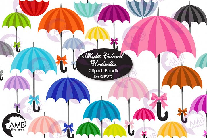 Multi Colored Umbrella clipart, graphics, AMB-2616