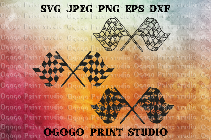 Racing Flag SVG, Mandala svg, Zentangle SVG, Rally svg