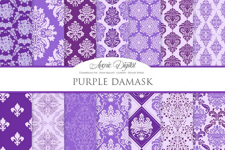 28 Purple Damask Patterns - Seamless Digital Papers Bundle