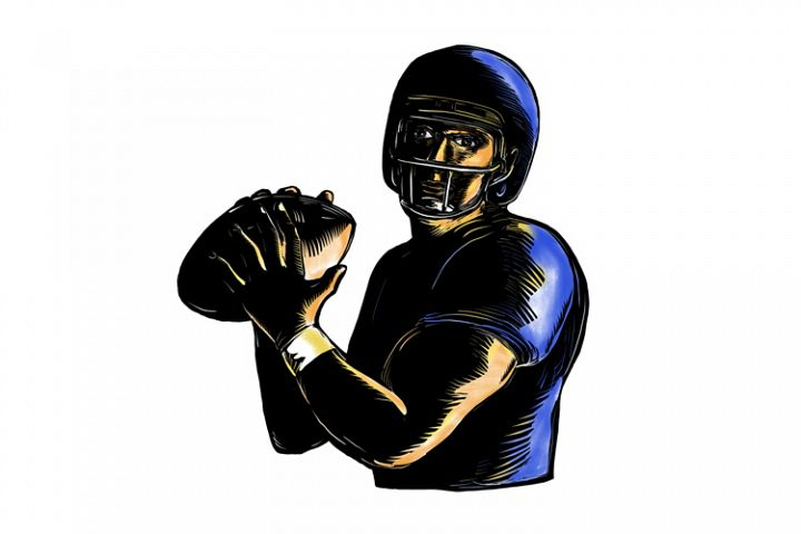 Quarterback Throw Ball Scratchboard