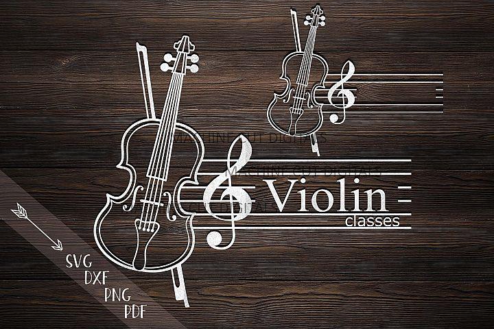 Violin Music classes Monogram frame laser cut svg dxf files