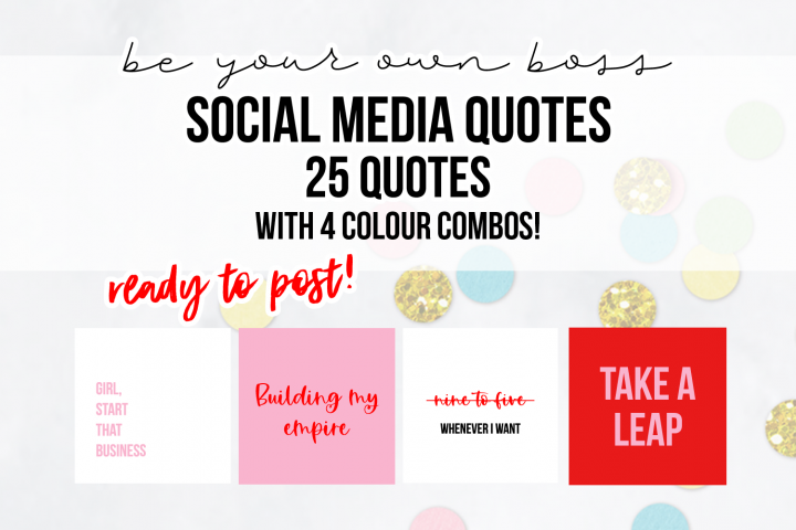 25 x Pink & Red Be Your Own Boss Social Media Quotes