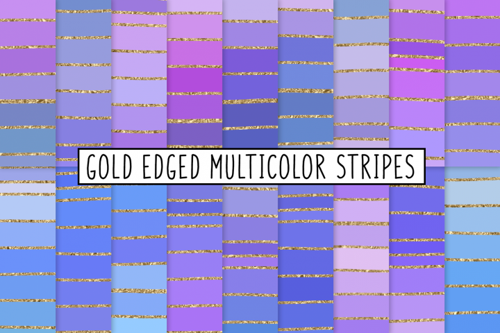 Gold Edged Multicolor Stripes