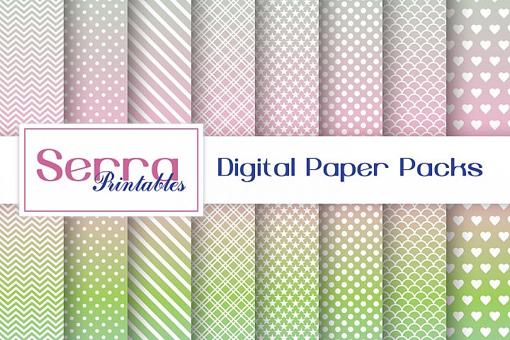 Seamless Pastel Ombre Basic Digital paper pack
