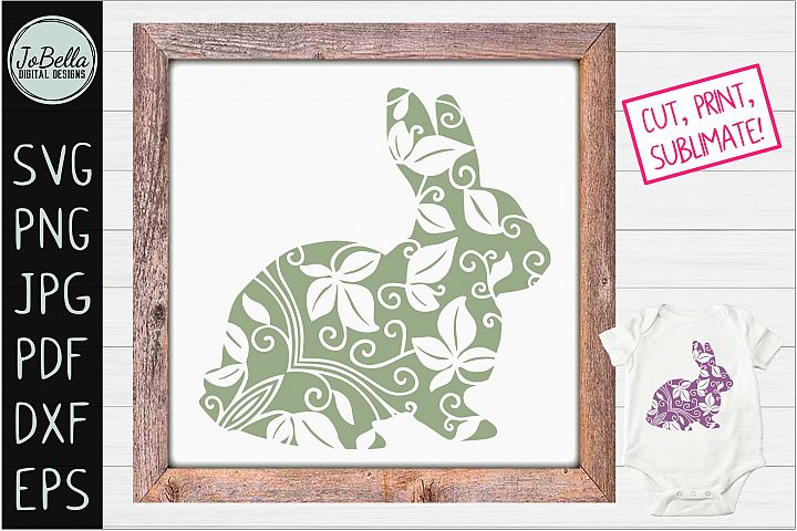 Zentangle Easter Bunny SVG, Printable & Sublimation PNG