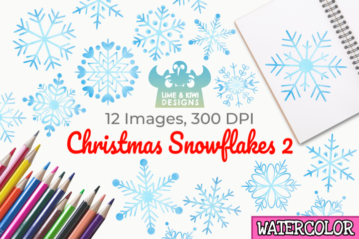Christmas Snowflakes 2 Watercolor Clipart, Instant Download