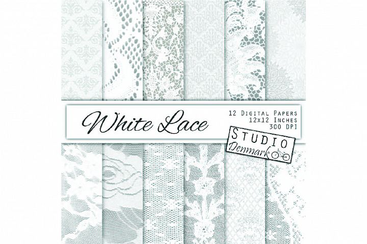 White Lace Digital Paper - Wedding Backgrounds