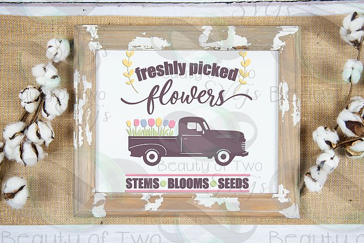 Spring Vintage Truck Farmhouse svg, Spring Fresh Flowers svg