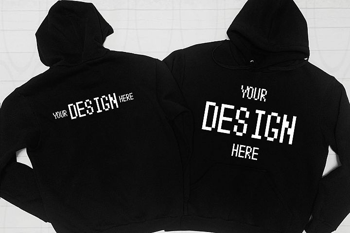 Blank Two black Hoodies mockup Styled Stock Photography