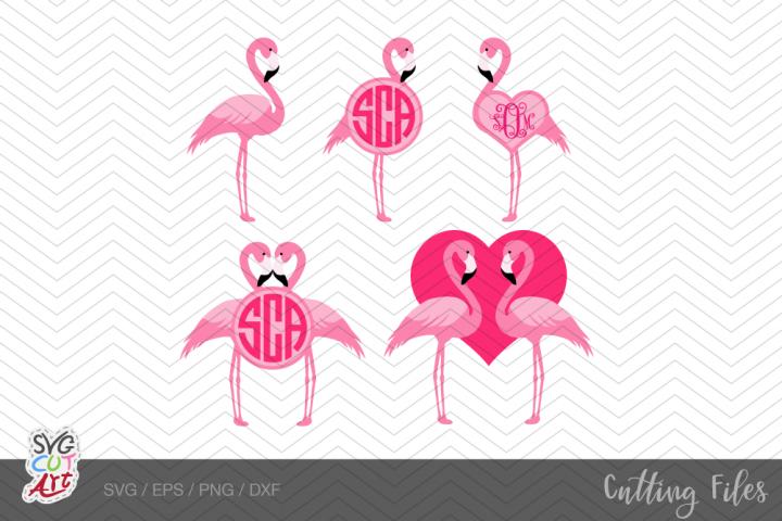 Flamingo svg, Valentine Flamingo svg, Flamingo monogram