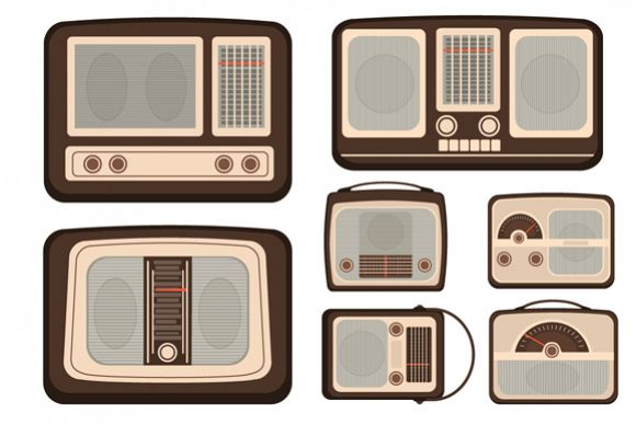 Set of Retro Vector Radio TV Communication Technologies