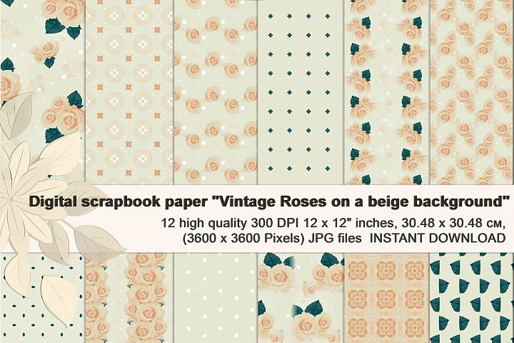 Beige Vintage Backgrounds, with Roses, Digital Paper.
