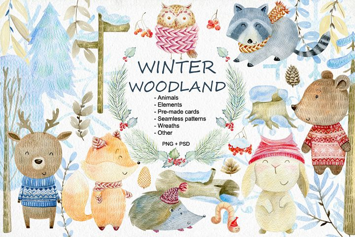 Winter Woodland. Watercolor set.