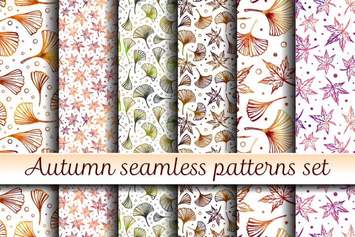 Autumn seamless patterns set