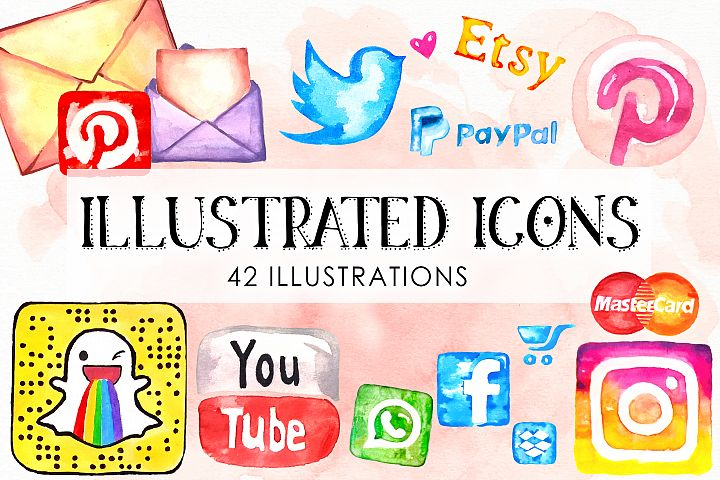 Watercolor Icons Set Social Media Hand drawn icons