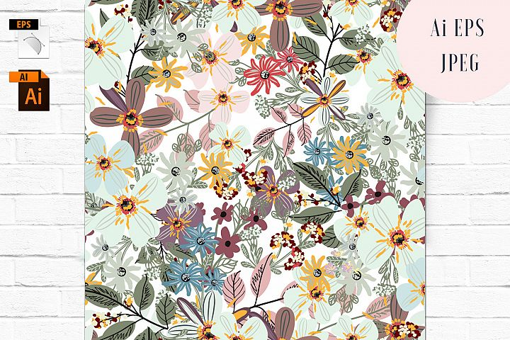 Flora vector seamless pattern