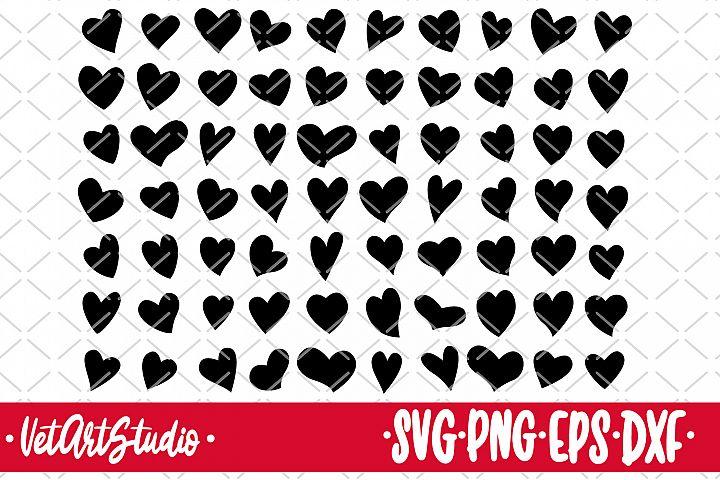 70 Hearts, heart icons set svg