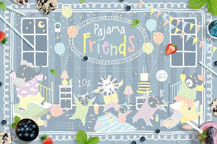 Cute Animals Pajama Party - Illustrations & Invitations