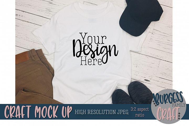 Mens white t-shirt khakis Craft mock up |High Resolution