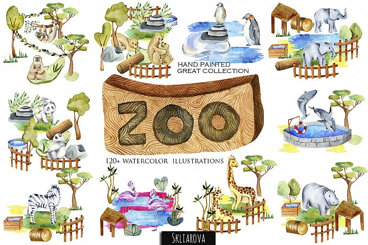 Zoo. Big watercolor collection.