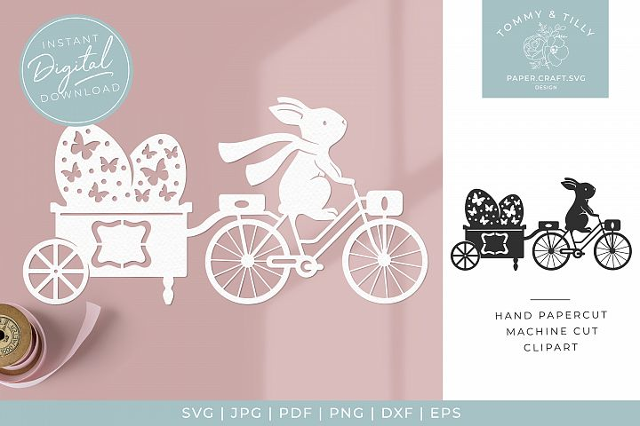 Easter Egg Trailer x 2 - Butterfly SVG Papercut Cutting File