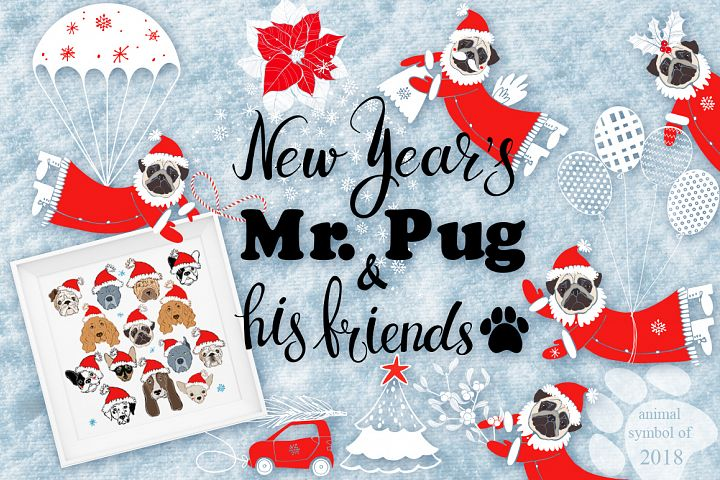 New Years Mr.Pug and his friends.