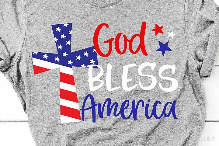 God Bless America Svg, 4th of July Svg, USA Cross Svg Cricut