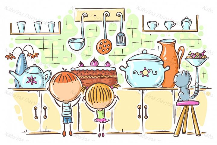 Kids are attracted by the cake in the kitchen