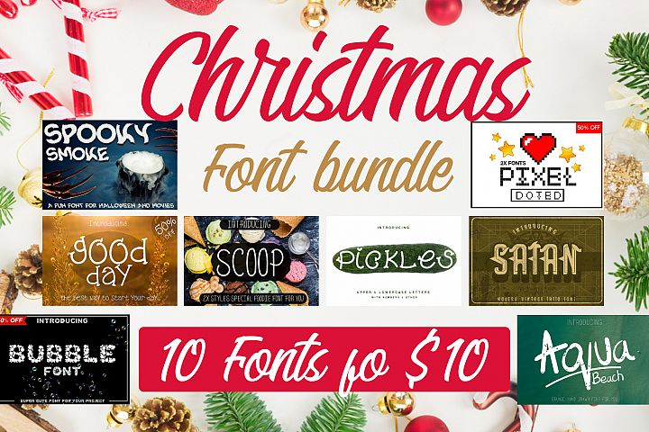 10 Fonts Christmas 2019 Blessed Bundle