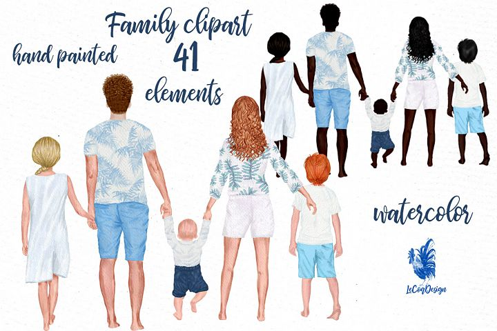 Family clipart Family figures Summer clipart Dad Mom kids