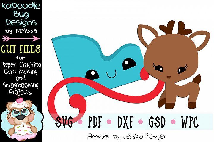 Kawaii Reindeer Sled Cut File - SVG PDF DXF GSD WPC