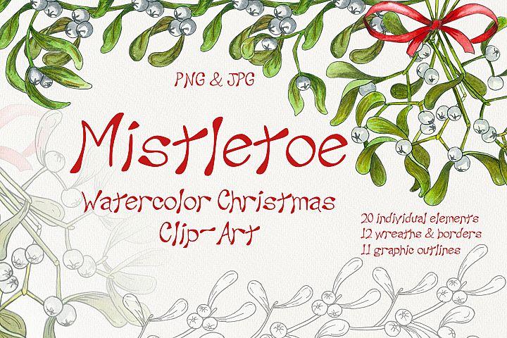 Mistletoe Watercolor Christmas ClipArt