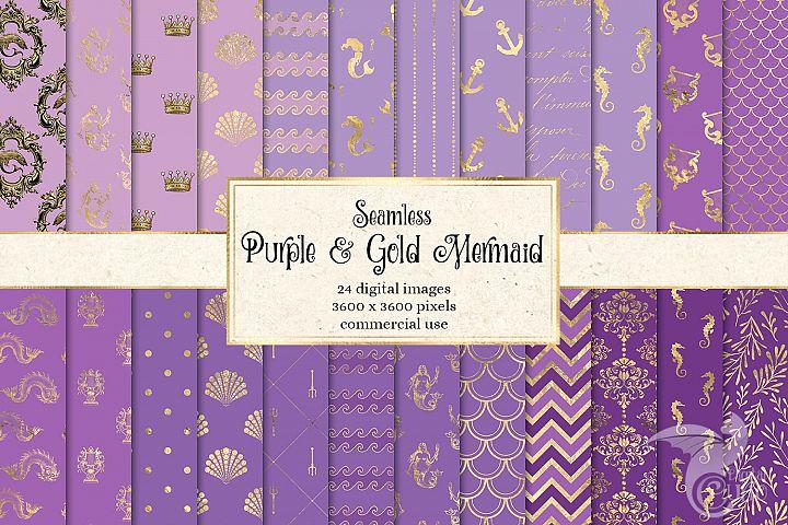 Purple and Gold Mermaid Digital Paper