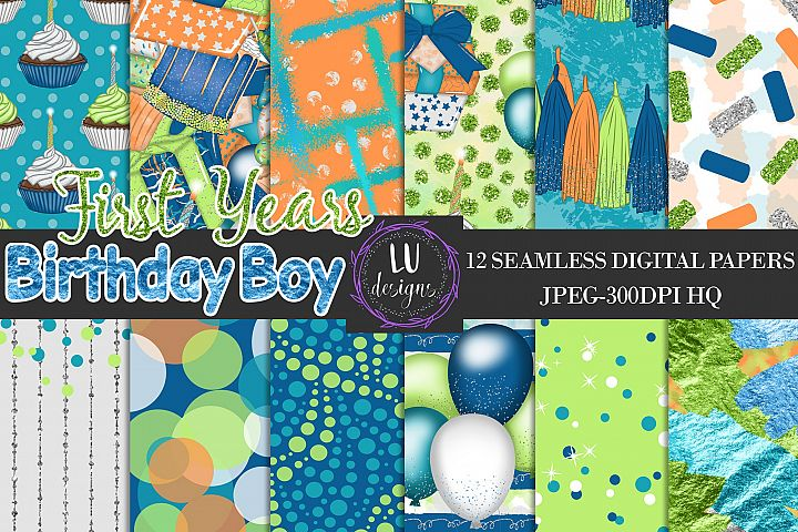 Birthday Boy Digital Papers, Boy Party Scrapbook Backgrounds